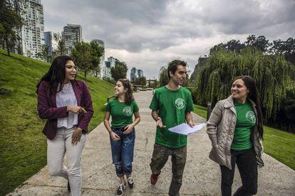Members of the Fridays for Future movement Clara Martínez, Camila González, Jorge Martínez and Valeria Cruz in Mexico City.