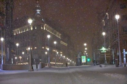 The streets of Madrid covered in snow after Storm Filomena.