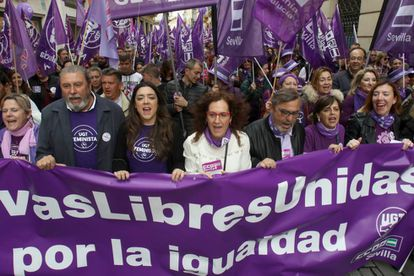 A march in Seville on International Women's Day.