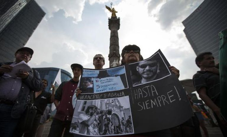 A demonstration held in Mexico City to protest the death of journalist Rubén Espinosa.