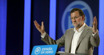 Mariano Rajoy at a political rally to drum up support for his re-election bid.