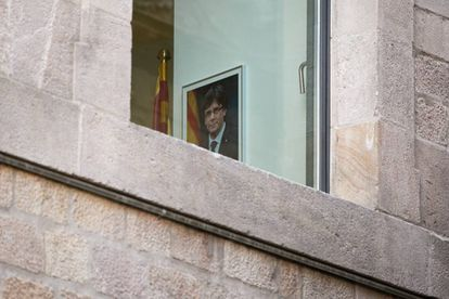 A portrait of Carles Puigdemont at the Palace of the Generalitat, the seat of the regional presidency.
