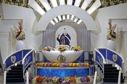 Naasón Joaquín, leader of La Luz del Mundo, standing at the altar inside the flagship temple in Hermosa Provincia, in August 2017.