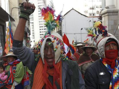 Members of the Maliku Kota tribe hold a protest in La Paz earlier this month.