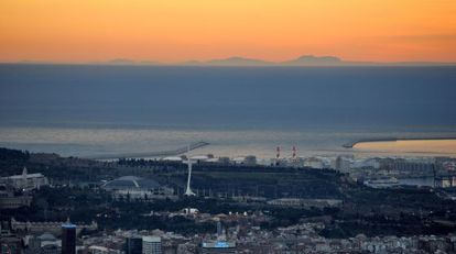 Mallorca's Serra de Tramuntana mountains as seen from Barcelona.
