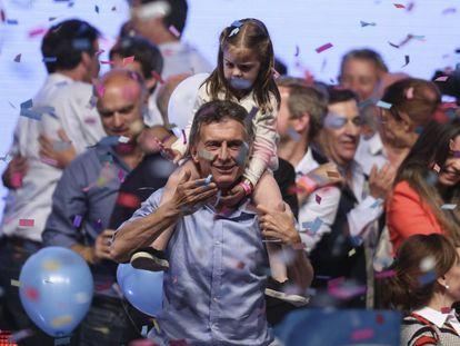 Mauricio Macri celebrating his victory on November 22, 2015.