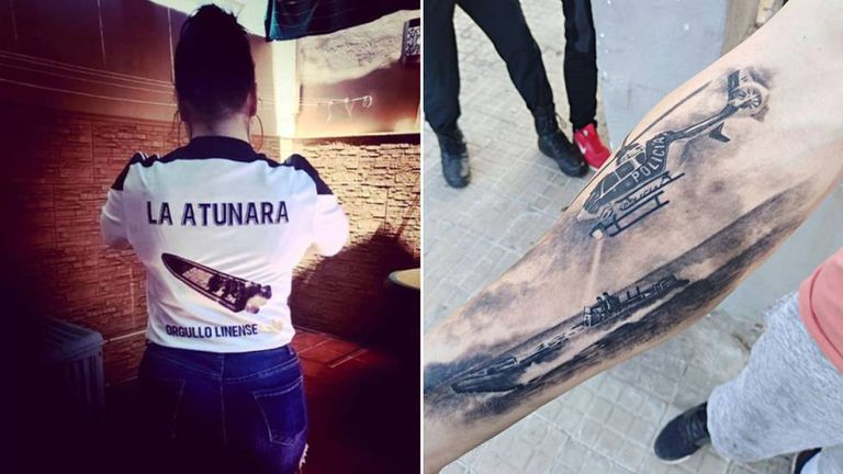 Viral photo of a girl wearing a shirt with a narco boat (l) and a police chase tattoo.