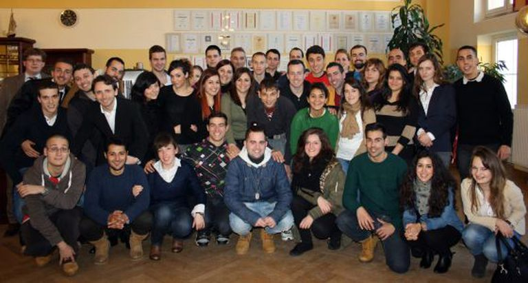 A group of young Spaniards who took part in the selection process for work in Germany in February.
