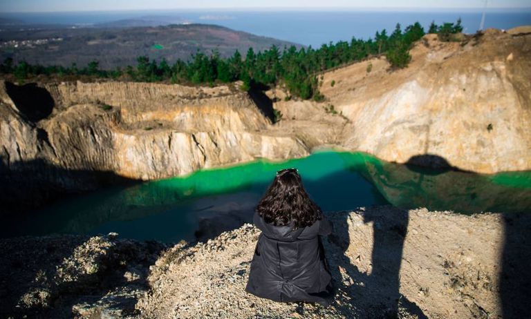 A pool containing mining residue at Monte Neme in Galicia.