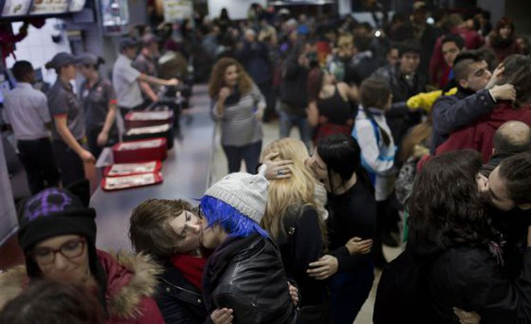 The mass kissing protest in Burger King on Saturday.