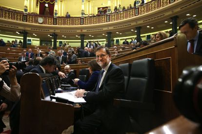 Acting Prime Minister Mariano Rajoy, smiling despite the congressional vote on Wednesday.