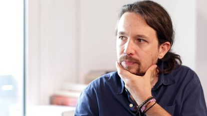 Pablo Iglesias during the interview in Madrid.