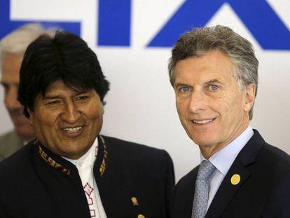 The presidents of Bolivia and Argentina, Evo Morales and Mauricio Macri.