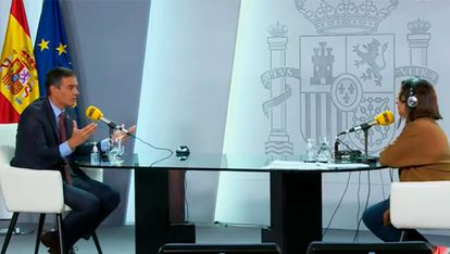 Pedro Sánchez during his interview on Tuesday with the Cadena SER radio network.