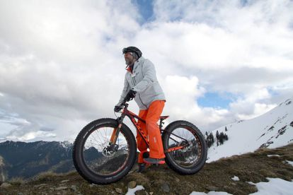 A fatbike at the French Le Mourtis ski resort.