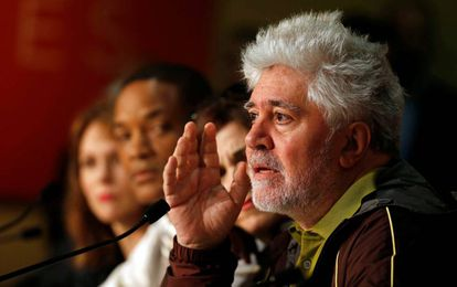Spanish director Pedro Almodóvar at the press conference in Cannes.
