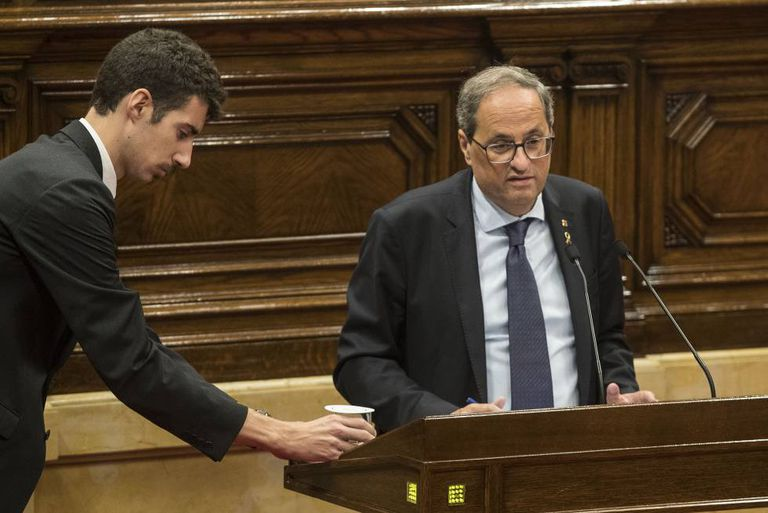 Quim Torra addresses the Catalan parliament on Thursday.