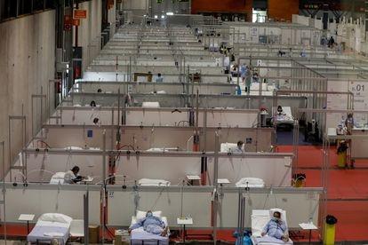 Coronavirus patients at the Ifema field hospital in Madrid last month.