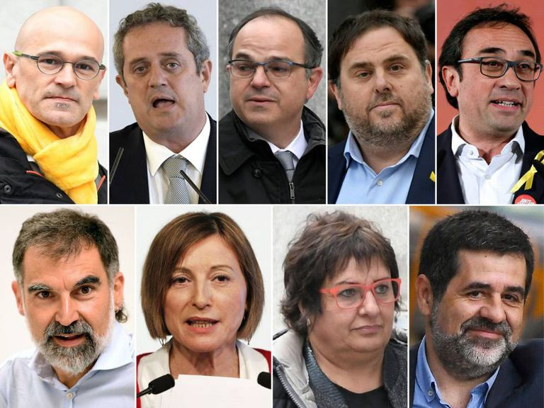 Catalan independence leaders Raül Romeva, Joaquim Forn, Jordi Turull, Oriol Junqueras, Josep Rull, Jordi Cuixart, Carme Forcadell, Dolors Bassa and Jordi Sànchez..