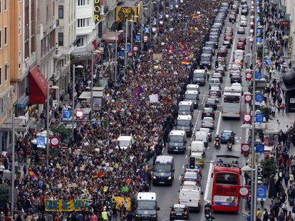 Protestors on a recent march make their way through Madrid.