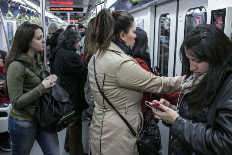 Women riding on the Buenos Aires subway often deal with harassment.