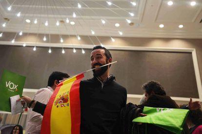 Vox president Santiago Abascal celebrating at a hotel in Seville.