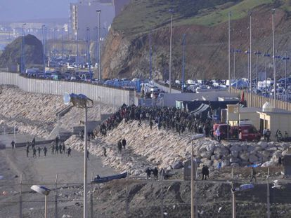 A view of the Ceuta border with Morocco this morning.