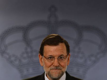 Mariano Rajoy at a press confrence in La Moncloa Wednesday.