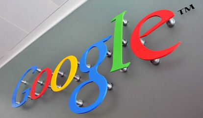 A sign with the Google logo.