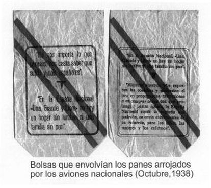 The bags that contained bread buns dropped by Franco's planes over Madrid.