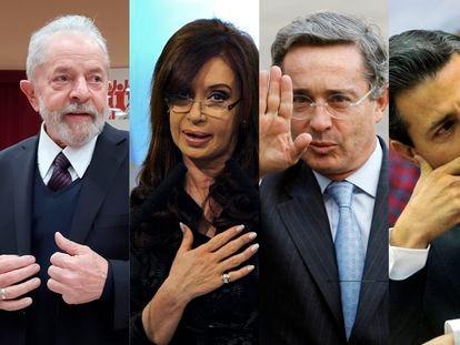 Left to right: former presidents Lula Da Silva (Brazil), Cristina Fernández de Kirchner (Argentina), Álvaro Uribe (Colombia) and Enrique Peña Nieto (Mexico).