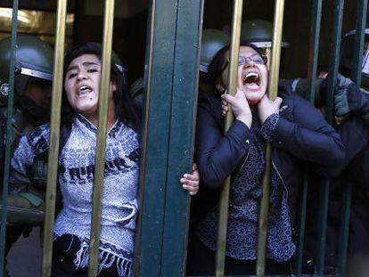 Protesting students arrested in Santiago de Chile.