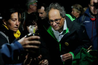 Catalan premier Quim Torra at a Monday event to observe the anniversary of the 2017 referendum.