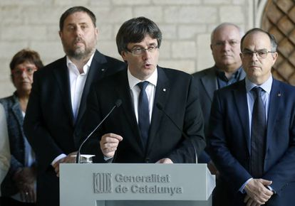 Catalan premier Carles Puigdemont accused the government of creating a de facto state of exception in Catalonia.