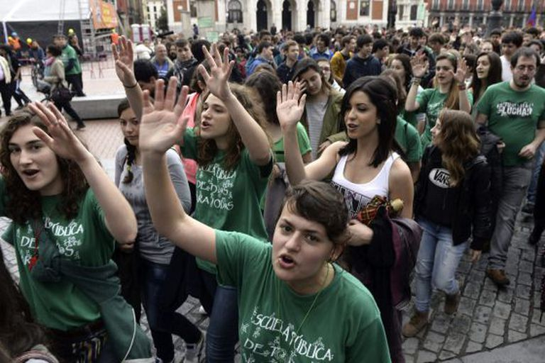 A demonstration  in Valladolid against the government's proposed education reforms.
