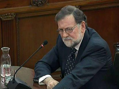 Ex-PM Mariano Rajoy giving witness testimony on Wednesday.