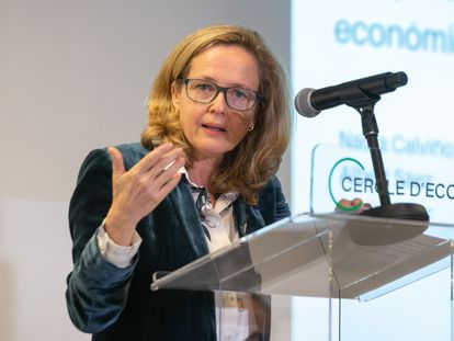 Economy Minister Nadia Calviño speaking at Barcelona's Cercle d'Economia on Monday.