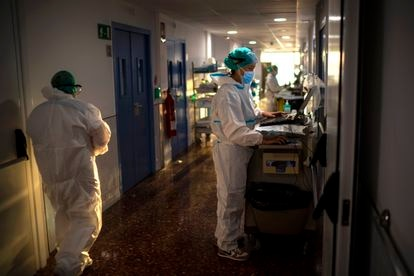 A ward for coronavirus patients in a hospital in Barcelona.