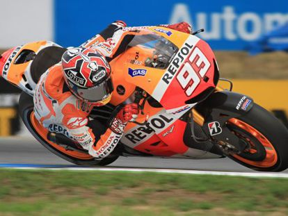 MotoGP rider Marc Márquez of Spain on his motorcycle competes in the third free practice session at the Czech Republic Grand Prix.