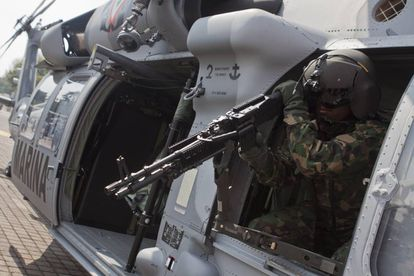 A military helicopter given to Mexico by the US in 2011.