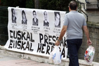 A sign featuring ETA prisoners in the Uribarri district of Bilbao in Spain's Basque Country, in 2019.