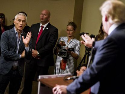 Univision journalist Jorge Ramos spars with Donald Trump on Tuesday.