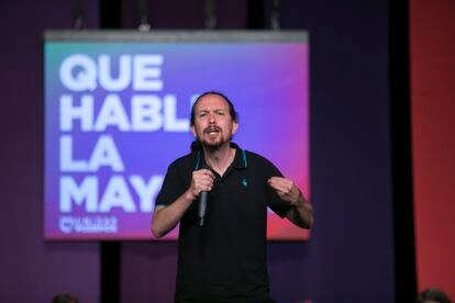Unidas Podemos candidate Pablo Iglesias at a rally in Alcorcón (Madrid) on Saturday.