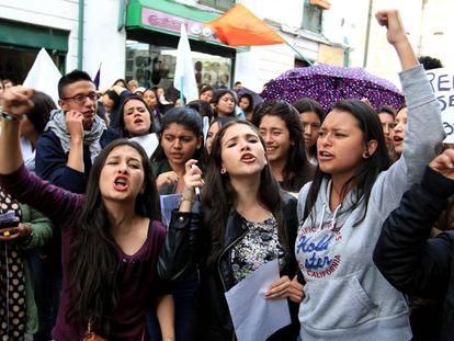 Women protest the murder of Rosa Elvira Cely in Bogota.
