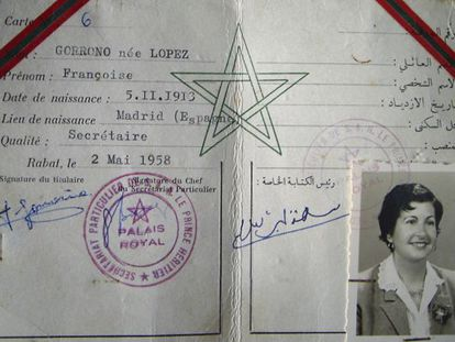 Paquita Gorroño's ID card from her time as secretary in the Moroccan Royal Palace.