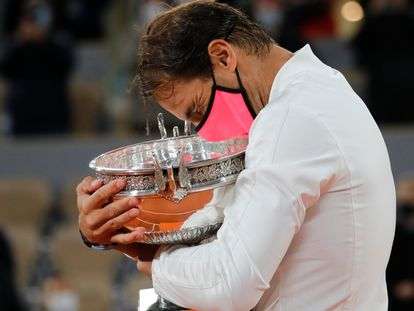 Spain's Rafael Nadal after winning the final match of the French Open tennis tournament at the Roland Garros stadium in Paris.
