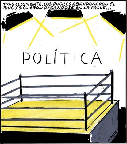 """""""Politics: After the match, the boxers left the ring and continued hitting each other in the street..."""""""
