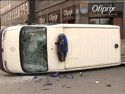Footage of the incidents in Bilbao on Monday (Spanish narration).