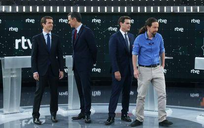 Pablo Casado (PP), Pedro Sánchez (PSOE), Albert Rivera (Ciudadanos) and Pablo Iglesias (Unidas Podemos) at the debate on Monday.