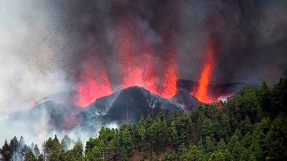 Lava and ash are spewed into the air during the volcanic eruption in La Palma.